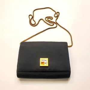Rodo black gold chain crossbody clutch hand bag